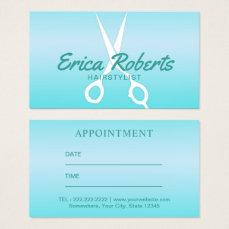 Hair Stylist Modern Tiffany Blue Salon Appointment Business Card