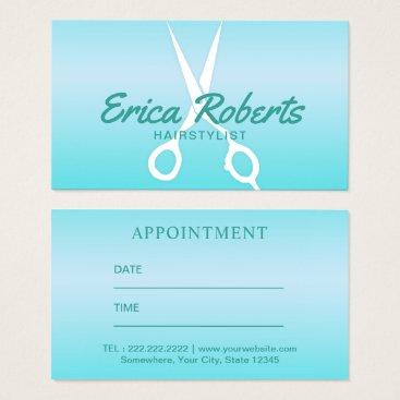 McTiffany Tiffany Aqua Hair Stylist Modern Tiffany Blue Salon Appointment Business Card