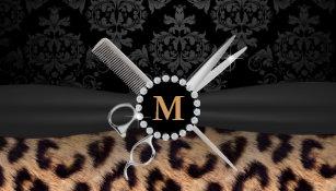 Leopard business cards 1800 leopard business card templates hair stylist monogram modern leopard print business card colourmoves Images