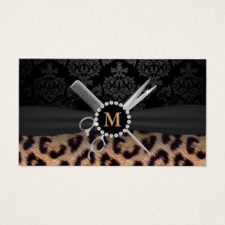 Hair Stylist Monogram Modern Leopard Print Business Card
