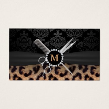 cardfactory Hair Stylist Monogram Modern Leopard Print Business Card