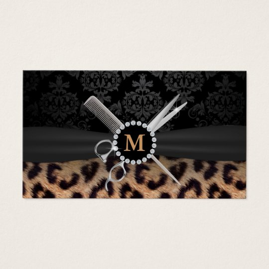 Hair stylist monogram modern leopard print business card zazzle hair stylist monogram modern leopard print business card colourmoves Images
