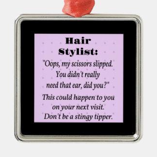 Hair Stylist Square Metal Christmas Ornament