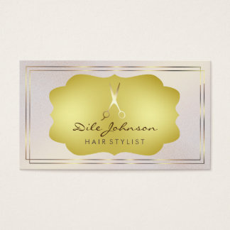 Hair Stylist Pink Gold Glitter Saloon Square Business Card