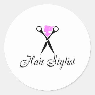 Hair Stylist (Pink/Scissors) Classic Round Sticker