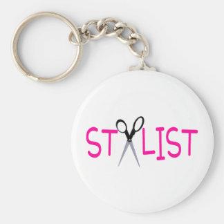 Hair Stylist Pink with Scissors Keychain