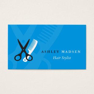 Comb business cards templates zazzle hair stylist plain blue scissor comb logo business card colourmoves