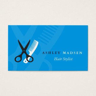 Hair Stylist - Plain Blue Scissor Comb Logo Business Card