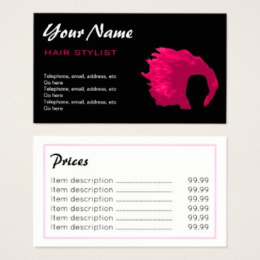Professional Business Hair Stylist Price Business Cards