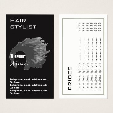 Professional Business Hair Stylist Prices Business Cards