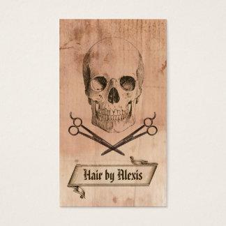 hair stylist punk grunge skull hairstylist brown business card
