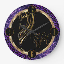 Hair Stylist Purple Glitter and Leopard Print Large Clock