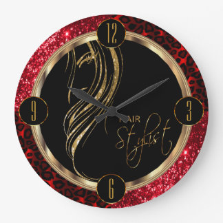 Hair Stylist Red Glitter and Leopard Print Large Clock