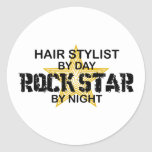 Hair Stylist Rock Star by Night Classic Round Sticker