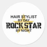Hair Stylist Rock Star by Night Classic Round Sticker