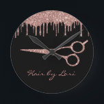 """Hair Stylist Rose Gold Drips Glitter Scissors Round Clock<br><div class=""""desc"""">This design was created though digital art. It may be personalized in the area provided by changing the photo and/or text. Or it can be customized by choosing the click to customize further option and delete or change the color the background, add text, change the text color or style, or...</div>"""