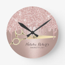 Hair Stylist Rose Gold Glitter Drips Modern Salon Round Clock