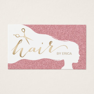 Hair Stylist Rose Gold Glitter Salon Appointments Business Card