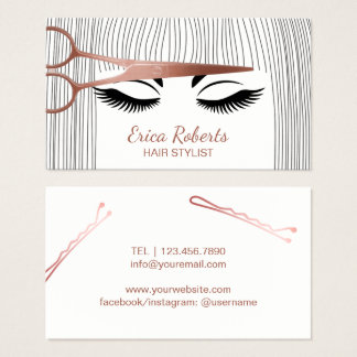 Hair Stylist Rose Gold Scissor & Girl Hair Salon Business Card