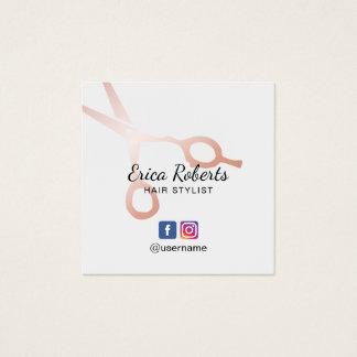 Hair Stylist Rose Gold Scissor Salon Social Media Square Business Card