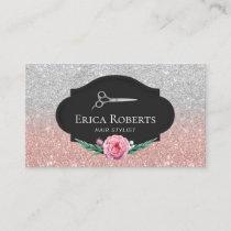 Hair Stylist Rose Gold & Silver Glitter Hair Slon Business Card