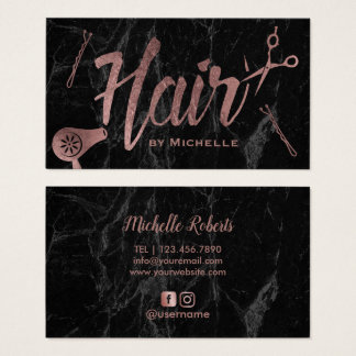 Hair Stylist Rose Gold Typography Modern Marble Business Card