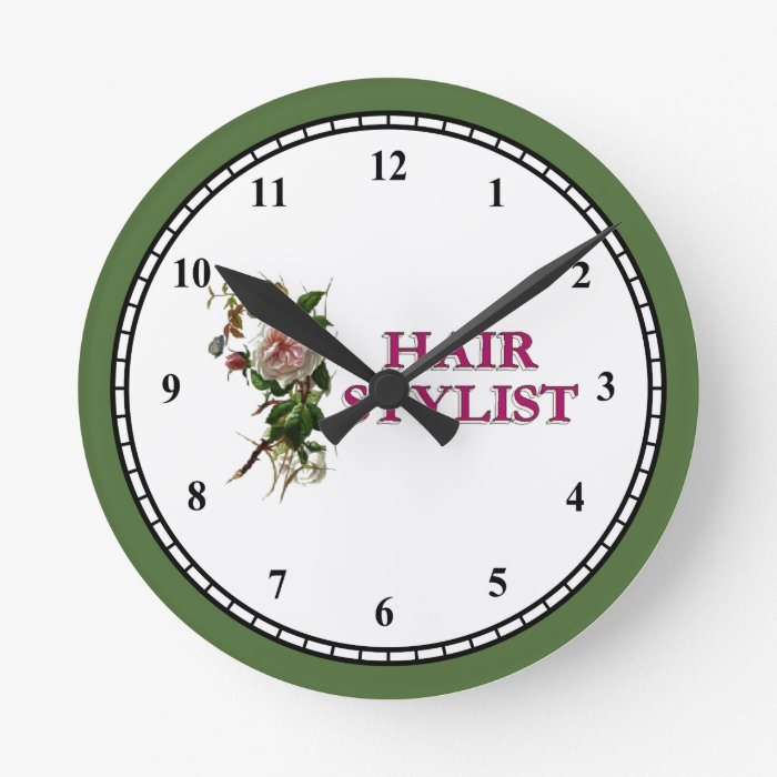 hair stylist rose round clock zazzle. Black Bedroom Furniture Sets. Home Design Ideas