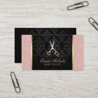 Hair Stylist Scissor Elegant Rose Gold Glitter Business Card