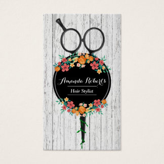 Hair Stylist Scissor & Flowers Rustic Appointment Business Card