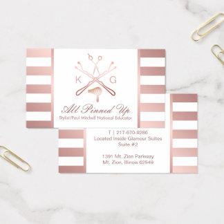 Hair Stylist Scissor Hair Dryer Rose Gold Stripe 2 Business Card