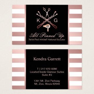 Hair Stylist Scissor & Hair Dryer Rose Gold Stripe Business Card