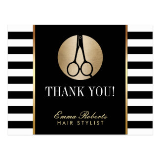 Hair Stylist Scissor Logo Modern Stripes Thank You Postcard