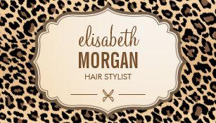 Animal print business cards templates zazzle hair stylist scissors elegant cream leopard print business card colourmoves