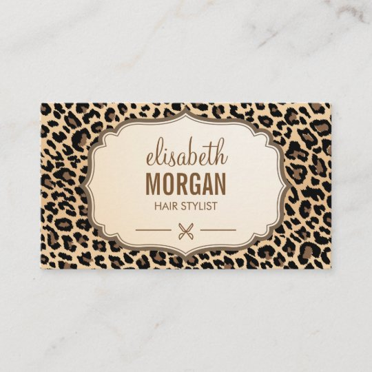 Hair stylist scissors elegant cream leopard print business card hair stylist scissors elegant cream leopard print business card reheart Image collections