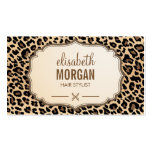 Hair Stylist Scissors Elegant Cream Leopard Print Business Card