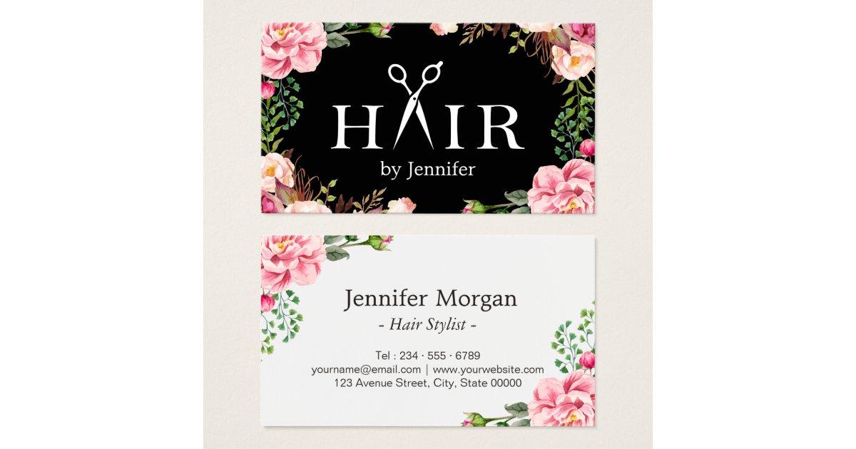 Hair Stylist Scissors Elegant Floral Wrapping Business Card | Zazzle.com