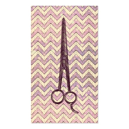 hair stylist scissors galaxy chevron purple shears business card
