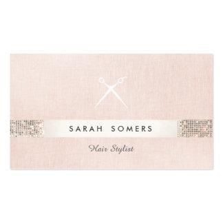 Hair Stylist Scissors Logo FAUX  Sequin Pink Salon Business Card
