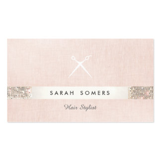 Hair Stylist Scissors Logo FAUX  Sequin Pink Salon Double-Sided Standard Business Cards (Pack Of 100)