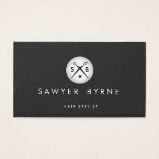 Hair Stylist Scissors Logo Silver and Black Business Card