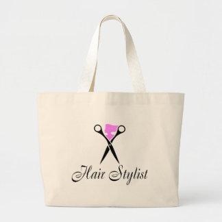 Hair Stylist (Scissors/Pink) Large Tote Bag