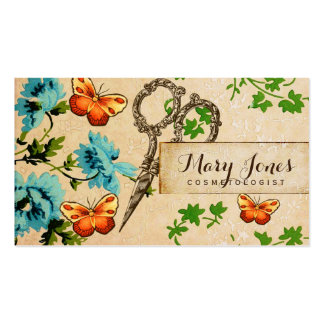 hair stylist scissors vintage floral girly business card