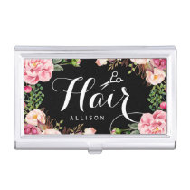 Hair Stylist Script and Beautiful Floral Wrapping Case For Business Cards