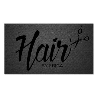 Hair Stylist Script Trendy Black Appointment Business Card