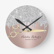 Hair Stylist Silver Glitter Drips Rose Gold Salon Round Clock