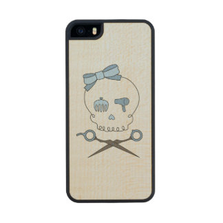 Hair Stylist Skull & Scissor Crossbones - Blue 2 Carved® Maple iPhone 5 Case