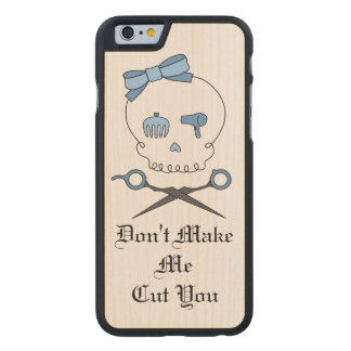 Hair Stylist Skull & Scissor Crossbones - Blue 3 Carved® Maple iPhone 6 Case