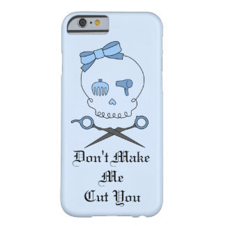 Hair Stylist Skull & Scissor Crossbones - Blue 4 Barely There iPhone 6 Case