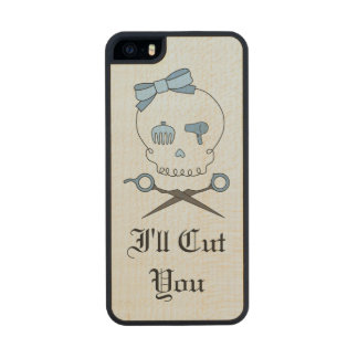 Hair Stylist Skull & Scissor Crossbones - Blue 6 Carved® Maple iPhone 5 Case