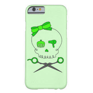 Hair Stylist Skull & Scissor Crossbones - Green #2 Barely There iPhone 6 Case